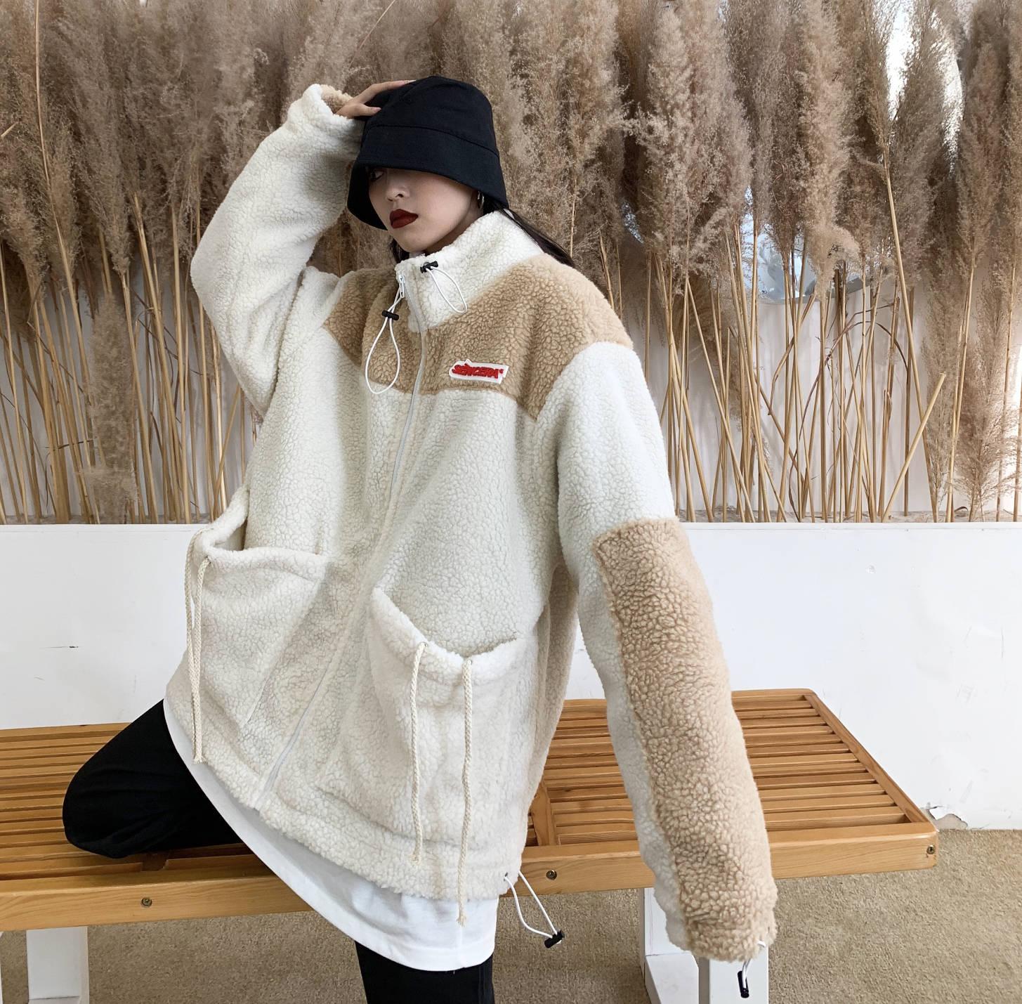 实拍 2019年冬装新款羊羔毛外套港风韩版复古潮女装夹克情侣装-思宇服饰-