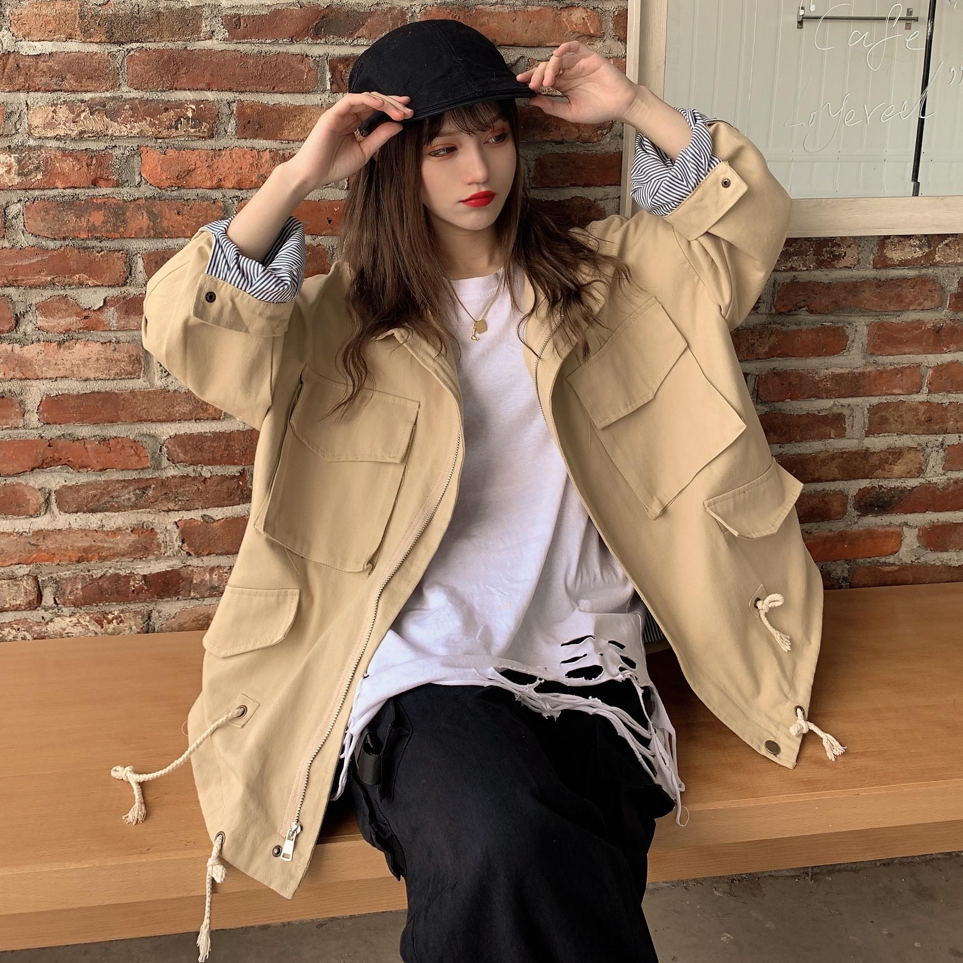 2020年春装新款工装外套韩版宽松港风复古夹克潮抽绳风衣-思宇服饰-