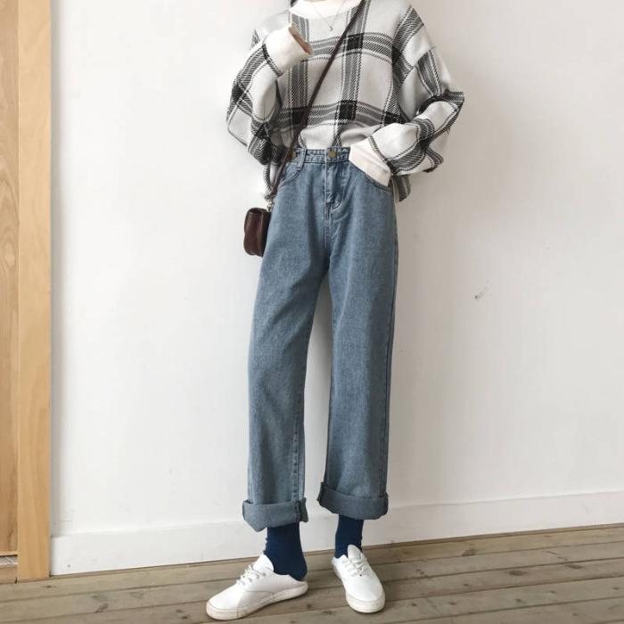 2020春季新款韩版复古牛仔裤女学生高腰直筒裤宽松显瘦阔腿裤 -