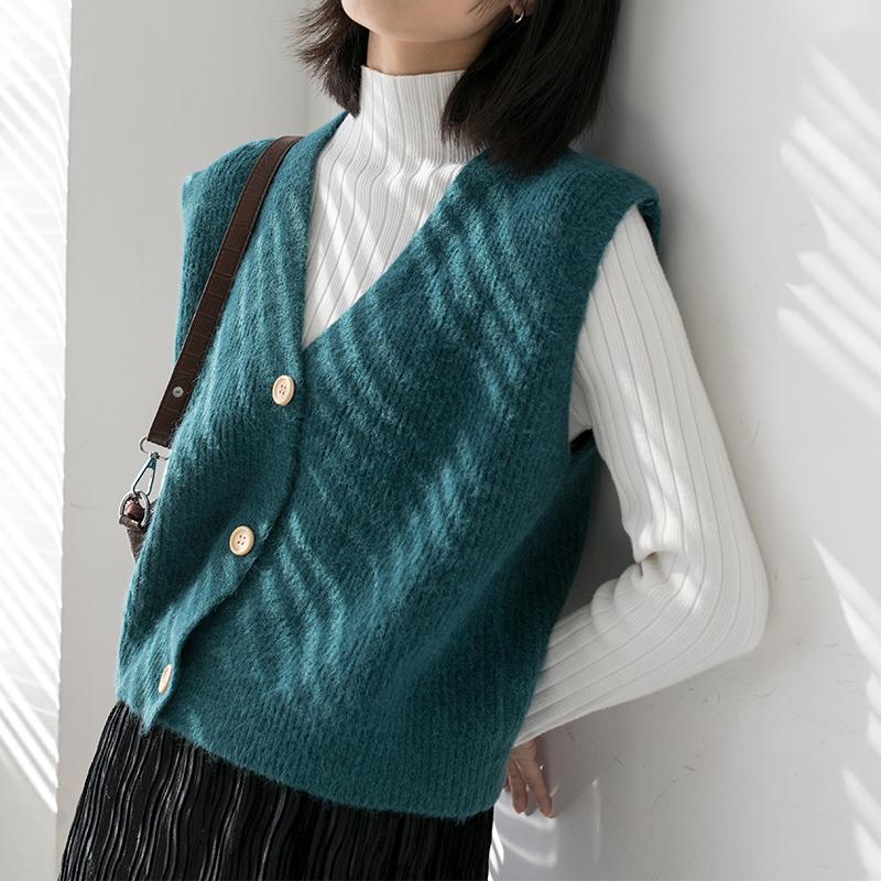 [¥50.9]高颜值毛衣针织背心女外穿宽松v领马甲无袖坎肩马夹复古百搭软糯