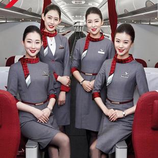 红土航空空姐制服中袖七分袖职业女装连衣裙秋美容师工作服新款图片