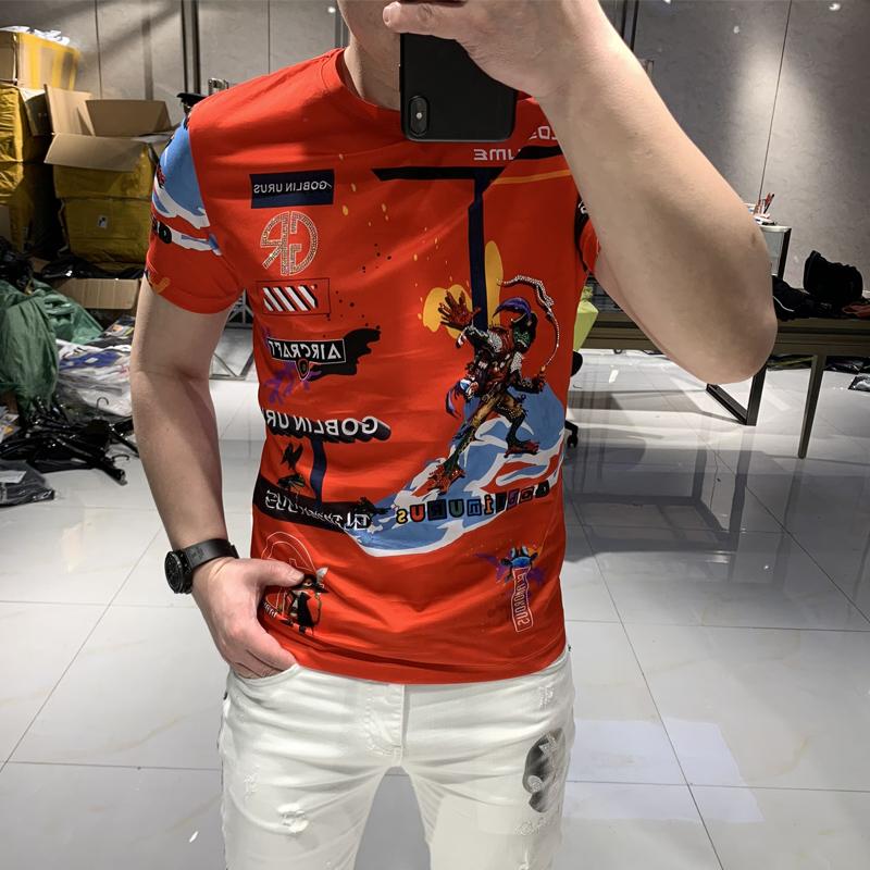 修身潮流短袖潮牌欧美t恤男士上衣夏季青年休闲烫钻印花印花体恤