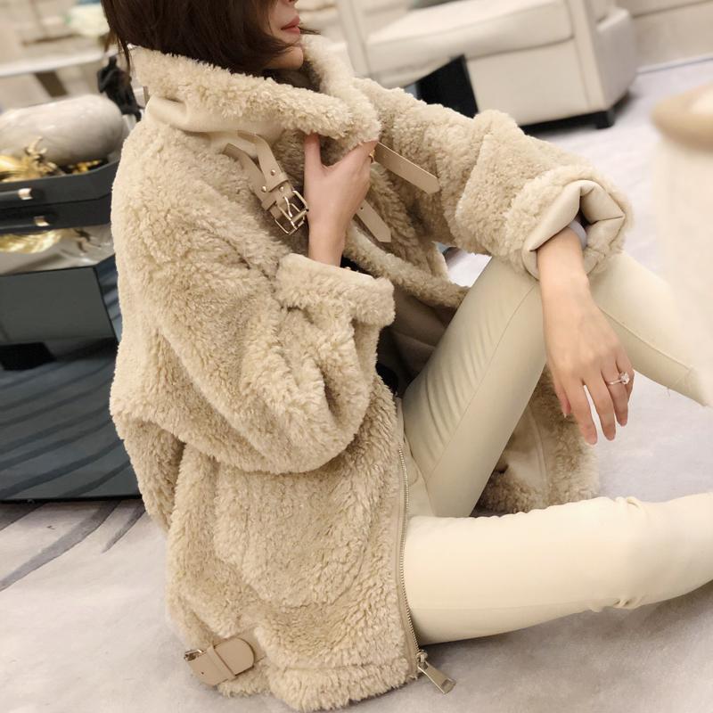 欧洲站冬装2019新款欧货女装羊羔毛皮毛一体外套女冬宽松羊羔服潮