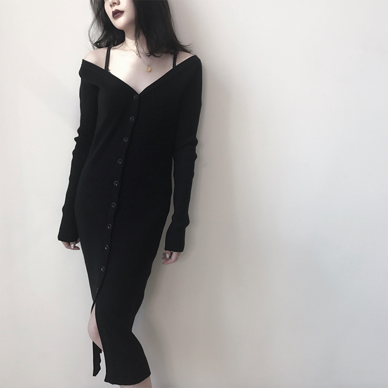 超好穿!~黑色针织裙修身包臀露肩长袖连衣裙女秋冬中长打底裙