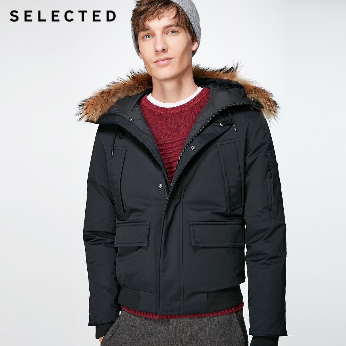 聚SELECTED思莱德冬季新款鸭绒男加厚短款羽绒服外套S|417412545