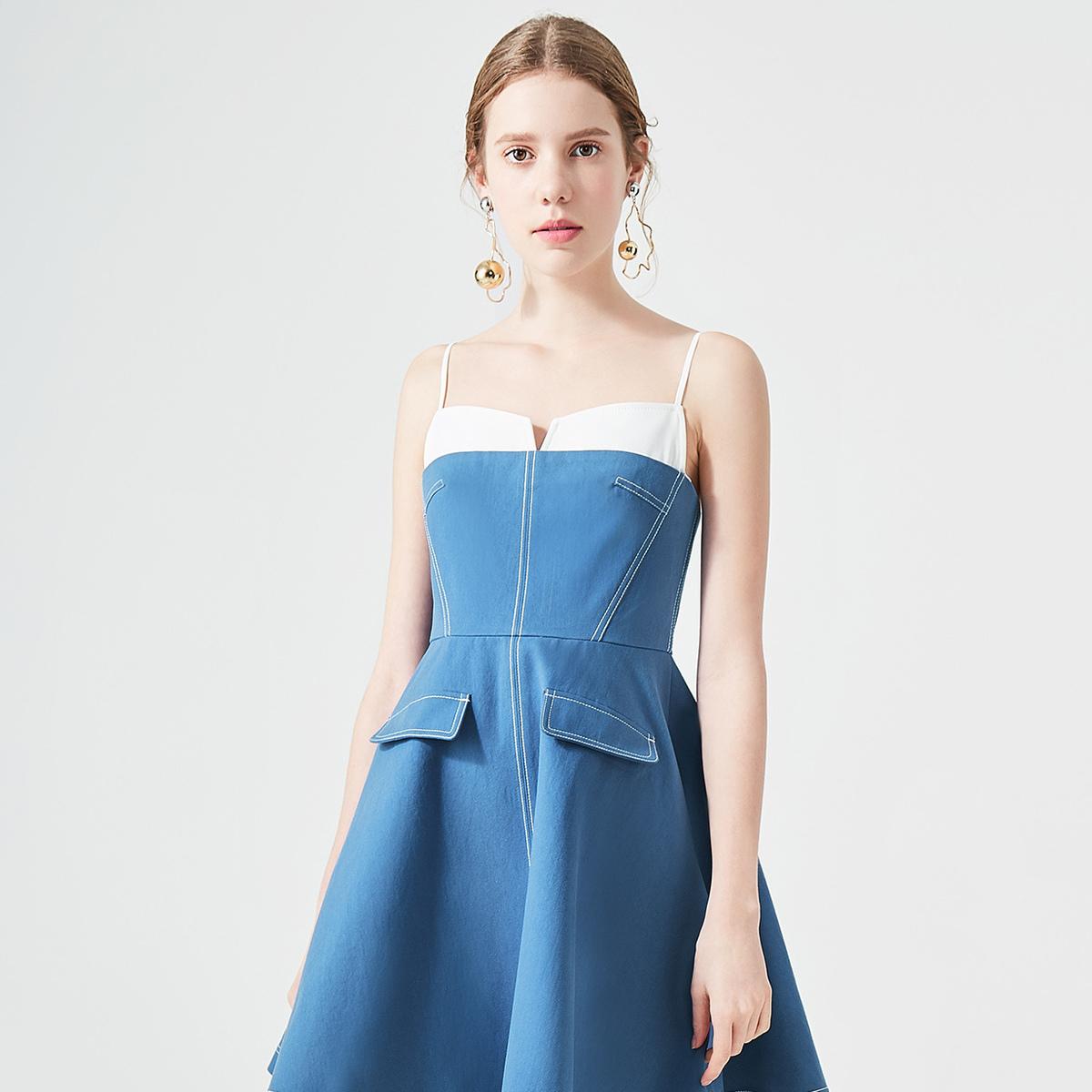 糖力吊带裙2018夏季新款小心机假两件假口袋纯棉学生连衣裙女