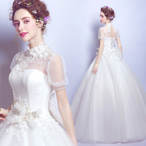 Air bubble sleeves Spring Bride Qi wedding dress 2858