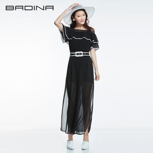 芭蒂娜新款女装夏季高腰个性长裤宽松休闲裤子性感吊带阔腿连体裤