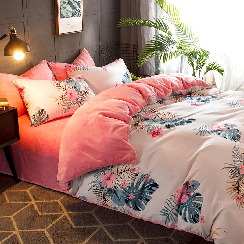 加厚珊瑚绒四件套法兰绒双人保暖双面法莱绒床上用品冬季床单被套-睡眠家纺 优质棉料