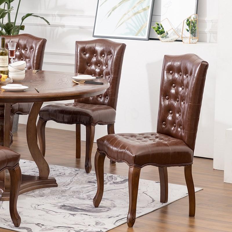 美式 乡村 实木 餐椅 复古 酒店 咖啡厅 小户型 靠背 餐桌 配套 组合