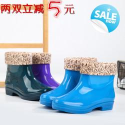 时尚女士雨靴加绒套鞋防滑胶鞋软底耐磨工作鞋成人防水低筒雨鞋女