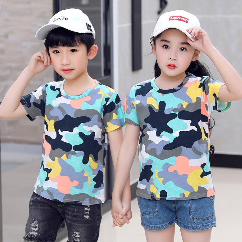 2019新款夏季韩版新款儿童短袖T恤学生纯棉撞色男童体恤夏装潮款