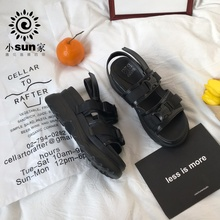 (小)sun家 韩款ulzzawg10g原宿811年新式女鞋INS潮超厚底松糕鞋夏