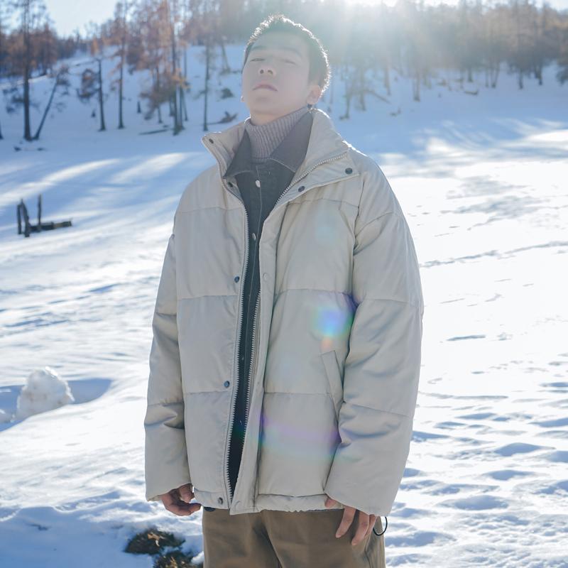 2020冬季新款牛仔拼接假两件加厚棉衣男面包服潮牌防寒服立领外套