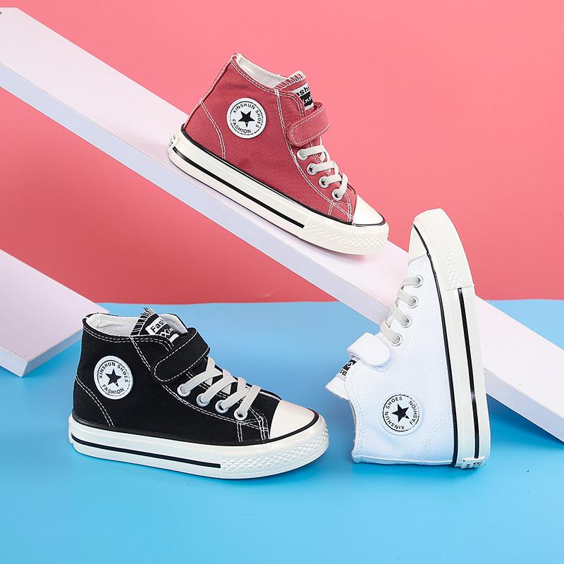 蜡比小星童鞋儿童高帮帆布鞋韩版男童女童休闲鞋中大童球鞋春秋款