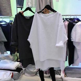 2019早秋装新款女韩版宽松七分袖上衣白色中长款短袖t恤女韩国潮
