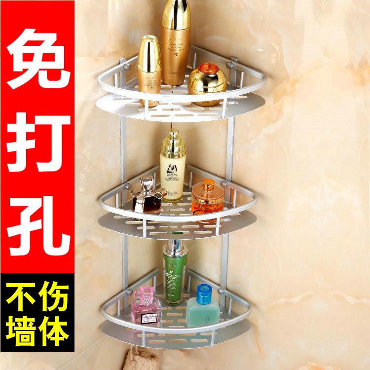 浴室置物架吸壁太空铝转角单双层卫生间壁挂收纳免打孔三角架加厚