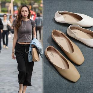 鞋子一脚蹬女鞋夏季2020新款方头奶奶鞋女平底孕妇鞋单真皮小皮鞋