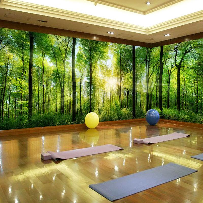 绿色树林5d墙纸客厅卧室壁画电视背景墙3d立体大自然风景森林壁纸