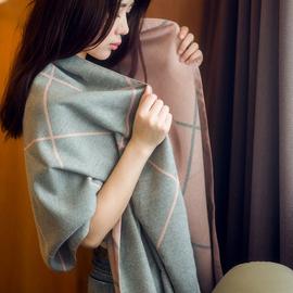 围巾女秋冬季韩版双面格子办公室空调披肩加厚两用百搭保暖大披风