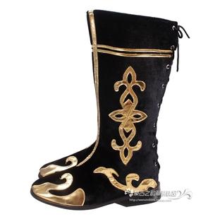 男士蒙古族舞蹈靴子 长筒黑色金花舞蹈鞋 高筒跳舞靴 系带款