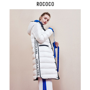洛可可2017冬装新款撞色连帽潮流字母刺绣羽绒服女中长款外套