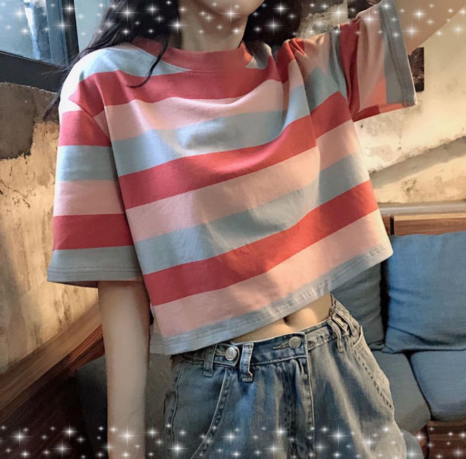 2020夏季泫雅风短款彩虹条纹高腰露脐上衣心机宽松显瘦短袖t恤女