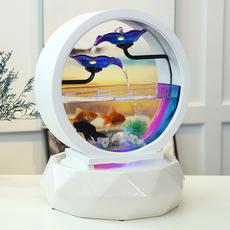 创意客厅流水摆件招财风水轮加湿器家用小喷泉办公室桌面鱼缸装饰