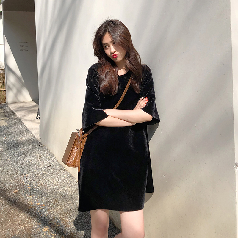 A7seven 金丝绒宽松显瘦短袖连衣裙女2019春夏韩版气质圆领打底裙