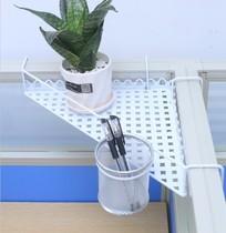 铁艺办公桌双层架三角桌面花架搁板架办公室盆栽花盆置物架收纳整
