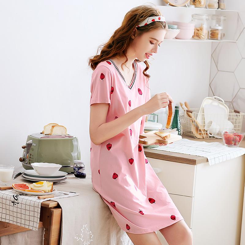 芬腾新款纯棉睡裙女夏短袖睡衣可爱V领甜美草莓短裙连衣裙家居服