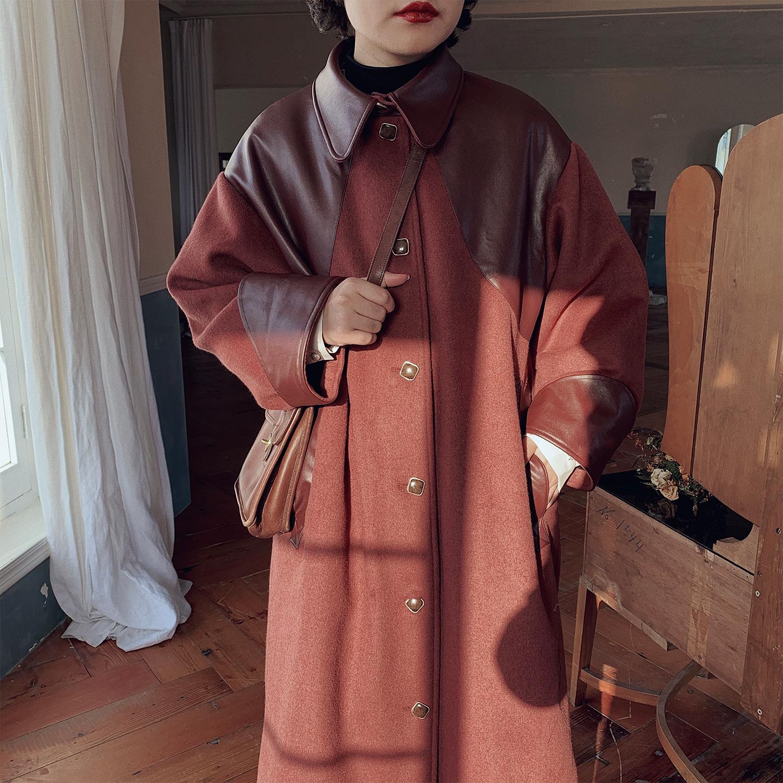 化学少女「枣泥与核」复古红毛呢外套女中长款小个子加厚大衣冬季