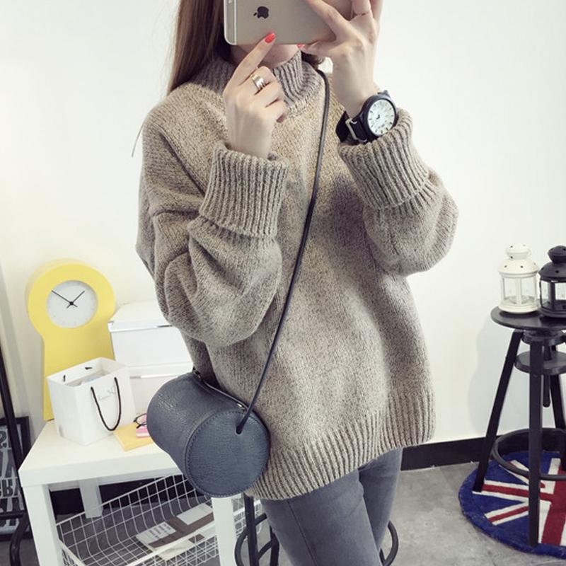 2017秋冬新款韩版潮圆领宽松套头学生毛衣女长袖上衣外套针织衫女
