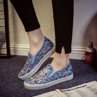 夏季新款蕾丝网布鞋女镂空透气帆布鞋一脚蹬懒人鞋白色平底休闲鞋