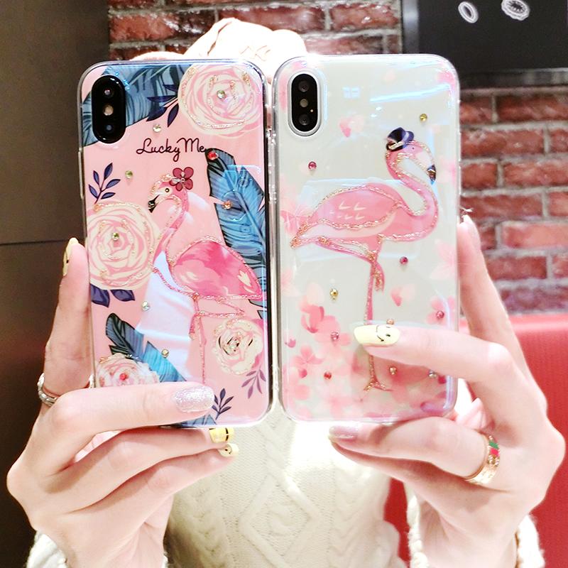 苹果六手机壳新max火烈鸟女款全包iphone7plus软硅胶套8p韩国钻xs