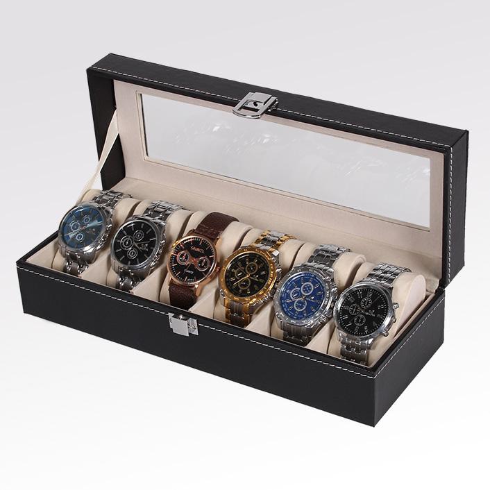皮质开窗首饰盒六位收纳盒 手表盒高档展示盒腕表礼盒包装盒 包邮