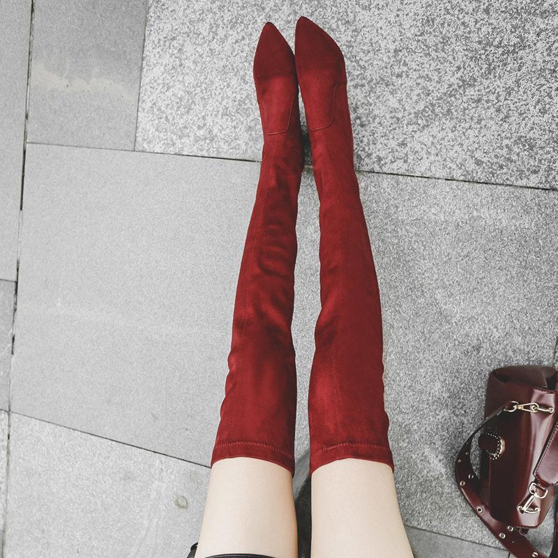 【香港买版】~尖头真皮瘦腿弹力靴过膝靴中跟粗跟长筒靴长靴女靴
