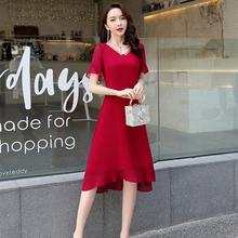 夏季新品高腰中长裙不hf7则燕尾收jw叶边雪纺短袖连衣裙