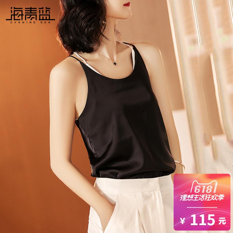 海青蓝2018夏季新款女装黑色露肩吊带上衣外穿性感小背心01969