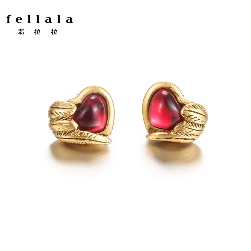 Fellala翡拉拉charme系列心之守护系列爱心耳钉女 送女友礼物