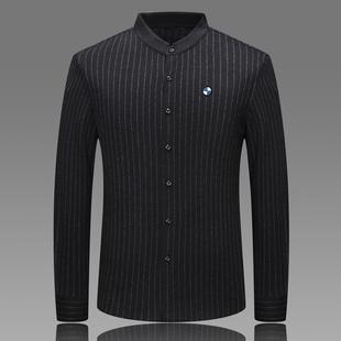 宝马男装立领羊毛衬衫男中青年商务竖条纹桑蚕丝羊绒衬衣男寸衫