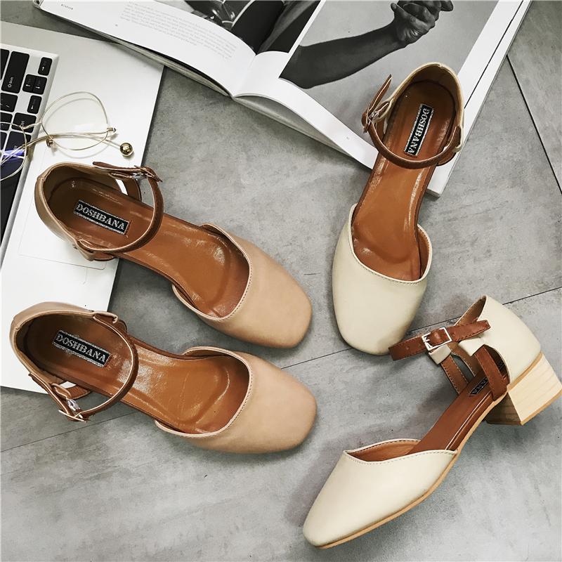 2017夏季新款韩版一字扣高跟鞋粗跟浅口单鞋女春方头玛丽珍鞋子潮