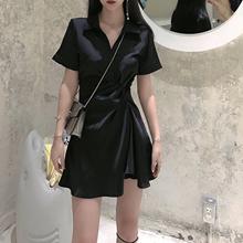 黑色连衣裙女2021春夏褶皱ab11腰显瘦40(小)黑裙(小)个子裙子
