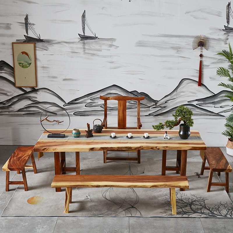 实木大板茶桌新中式客厅茶台茶几现代简约办公室接待泡茶桌椅组合