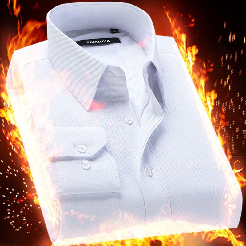 鼕季保暖男士白襯衫修身商務職業正裝加絨加厚長袖襯衣男寸衫帶絨