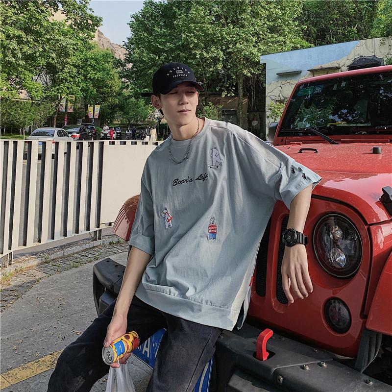 卡通短袖t恤男士夏季新款韩版潮流宽松港风潮牌百搭学生半袖T恤衫
