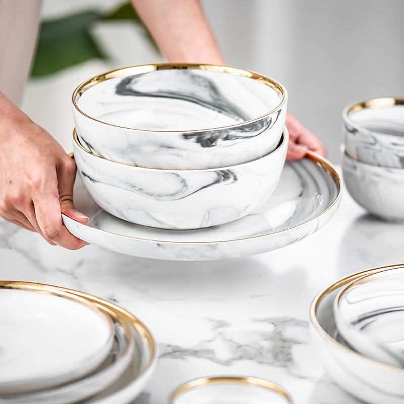 网红款金边大理石陶餐具瓷套装碗碟多用全套 家用饭碗盘碗筷子-勺家先生-2月