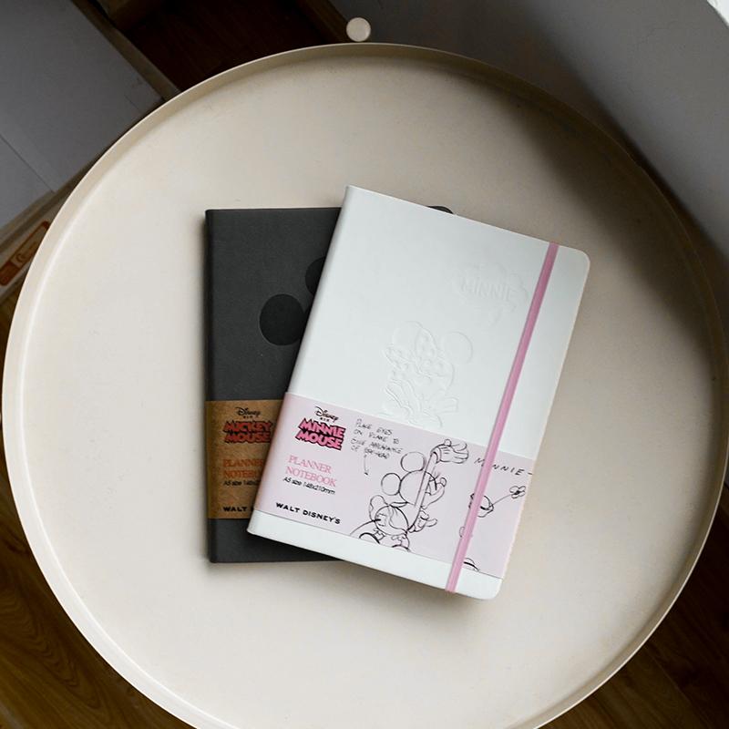 广博迪士尼A5手帐本空白网格笔记本硬皮小清新简约ins风复古横格手账记事本子学生日记加厚方格米老鼠少女心