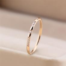 日式轻奢戒指网红少女简约钻石钛cn12玫瑰金rt指环(小)众设计