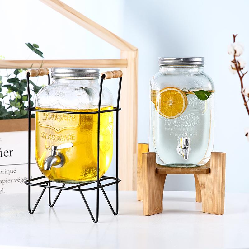 泡酒玻璃瓶带龙头10斤家用果汁罐水果饮料桶玻璃酵素桶密封罐包邮